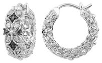 Other Sterling Silver 16 Ct Tw Black And White Diamond Hoop Earrings Gh I3