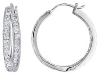 Other Sterling Silver 6 14 Ct Tgw White Sapphire Hoop Earrings