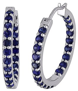 Sterling Silver 3.6 Ct Tgw Blue Sapphire Hoop Earrings