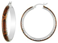 Other Sterling Silver Orange Snake Patern Hoop Earrings