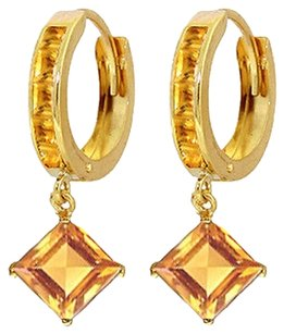 4.4 CT 14k Yellow Gold Huggie Earrings with Dangling Citrine Gemstones
