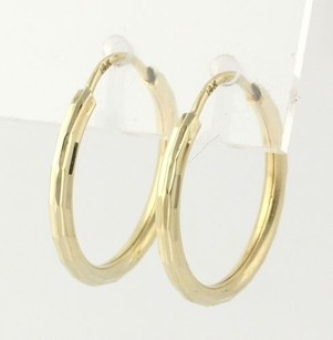 Hoop Earrings - 14k Yellow Gold Lightweight Diamond Cut