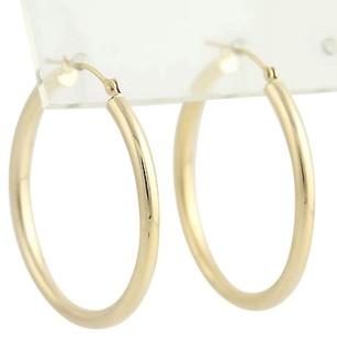 Hoop Earrings - 14k Yellow Gold Smooth Finish Pierced
