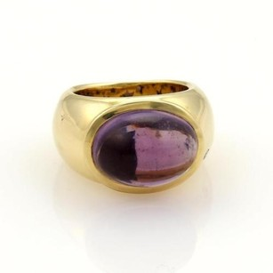 H.stern 13.03ct Amethyst Diamond 18k Ygold Wide Dome Ring 6.75