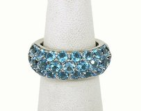 H.t Stewart 18kt White Gold 6ctw Blue Topaz Dome Style Bandring