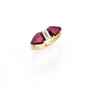 Other H.t. Stuart 18k Yellow Gold Platinum Diamond Ruby Stone Ring - Gia Certified
