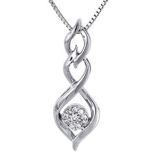 Infinity Double Loop Design Diamond Pendant White Gold Charm W Necklace .10 Ct.