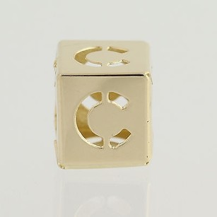 Initial C Block Bead Charm - 14k Yellow Gold Letter Alphabet Jewelry Making