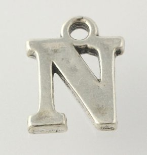 Initial N Charm - Sterling Silver 925 Pendant Letter Womens Estate