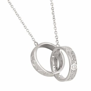 Interlocked Love Rings Sterling Silver Pendant Charm In 14k White Gold Finish
