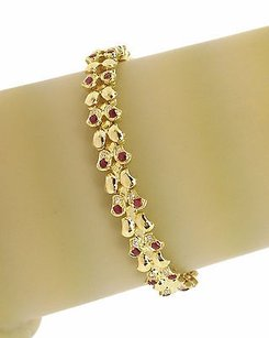 Other J. Roca 18k Gold Pts. Diamonds Cts Rubies Butterfly Link Bracelet 14
