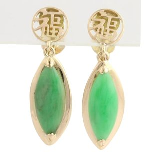 Jadeite Drop Earrings-14k Yellow Gold Chinese Character Jade Non-pierced 3.84ctw
