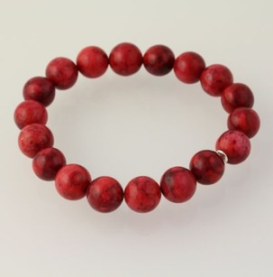 Other Jasper Stone Bracelet - Stretch Red Womens Fine Accessory Marbled Color