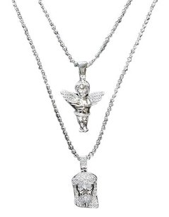 Jesus Angel Pendant Set White Gold Tone Mens Womens Dual Charms Face Bead Chain