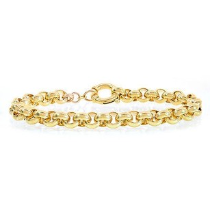 7.5mm 14k Yellow Gold Rolo Link Chain Bracelet Italy