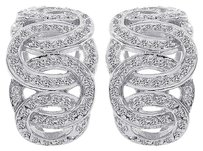 1.00 Carat Round Cut Diamond Loose Braid J-hoop Earrings 14k White Gold
