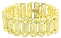 Other Yellow Simulated Diamonds Bracelet Fully Iced Out Micro Pave Custom Design 8.5