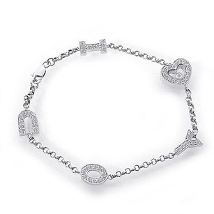 0.95 Carat Diamond I Love You 18k White Gold Bracelet
