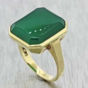 1930s Antique Art Deco Estate 10k Solid Yellow Gold Green Stone Ring