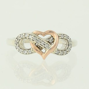 Diamond Heart Knot Ring - 10k Rose Gold Sterling Silver 0.12ctw