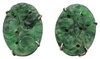 1880s Antique Victorian Estate Solid Silver Carved Green Jade Earrings
