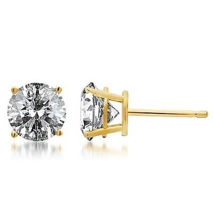 14k Solid Yellow Gold Round Cut Diamond Solitaire Studs Earrings 14 Ct