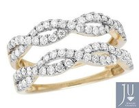 Other Ladies 14k Yellow Gold Real Diamond Infinity Ring Enhancer Jacket 1.0ct 9mm