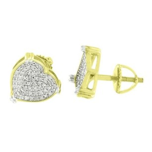 Womens Diamond Heart Earrings Studs Ladies Sterling Silver Screw On Micro Pave