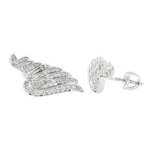 Guardian Angel Wings Pendant 925 Sterling Silver Iced Out Screw On Diamond Studs