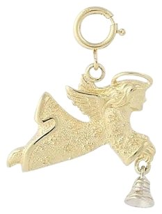 Other Angel Charm 14k Yellow White Gold Ringing Bell Guardian Angel Religious Pendant