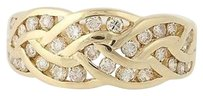 Diamond Ring - 14k Yellow Gold Woven Design Womens Gift 23ctw