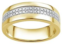 Mens Yellow Gold Finish Brass Diamond Accent Wedding Engagement Band 0.85