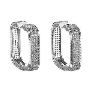 Square Hoop Earrings Huggies Micro Pave Silver Tone Simulated Diamonds Unique