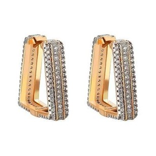 Triangle Hoop Earrings Simulated Diamonds Iced Out Gold Tone Huggies Ladies