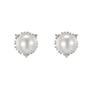 Womens Pearl Earrings With Simulated Diamonds Thanksgiving Sale 10mm Unique