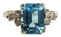 Other Ladies 14kt Yg Blue Topaz Diamond Ring Apx .24ctw 6.75 Max064576