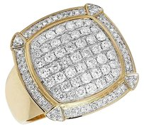 Other Mens 10k Yellow Gold Square Puff Claw Genuine Diamond Pinky Ring 1.65ct 20mm