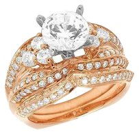 Other Ladies 14k Rose Gold Solitaire Genuine Diamond Engagement Ring Set 1.35ct 10mm