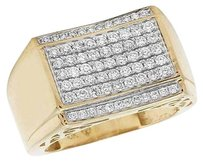 Mens Genuine Diamond Band Pinky Ring In 10k Yellow Gold 1.50 Ct 20mm