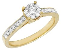 Ladies 14k Yellow Gold Genuine Diamond Cluster Solitaire Engagement Ring 0.50ct