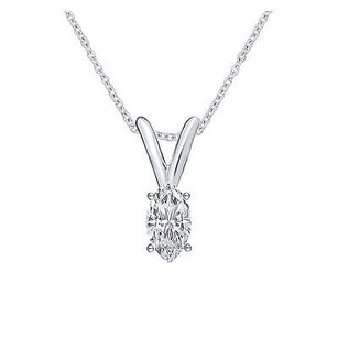 14k White Gold Marquise Genuine Diamond Solitaire Ladies Pendant Chain Set .16ct
