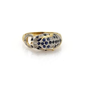 Other Diamond Sapphire 14k Two Tone Gold Panther Head Ring
