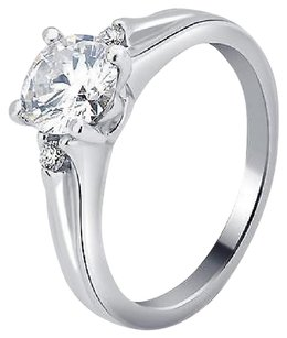 14k White Gold Ladies Genuine Diamond Round Solitaire Engagement Ring 0.81ct