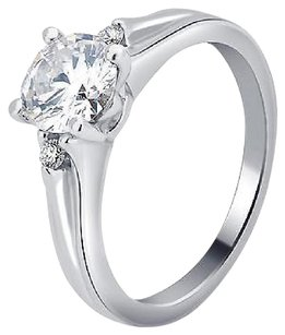Other 14k White Gold Ladies Genuine Diamond Round Solitaire Engagement Ring 1.06ct