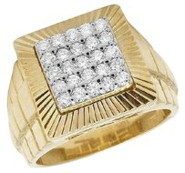 10k Yellow Gold Genuine Diamond Mens Presidential Pinky Square Ring 1.0ct 15mm