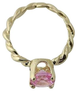 Synthetic Pink Sapphire Ring Charm - 10k Yellow Gold Pendant .14ct