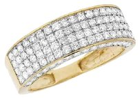 Other Ladies Mens 10k Yellow Gold Real Diamond Row 3d Wedding Band Ring 2.0ct 7mm