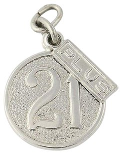 Other 21 Plus Birthday Charm - Sterling Silver Textured Disc Celebration Gift