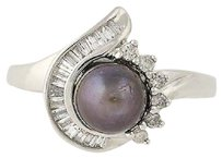 Other Cultured Pearl Diamond Ring - 14k White Gold 6.8mm Halo Style .25ctw