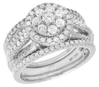 Other 14k White Gold Genuine Diamond Ladies Piece Cluster Bridal Ring Set 1.0ct 10mm